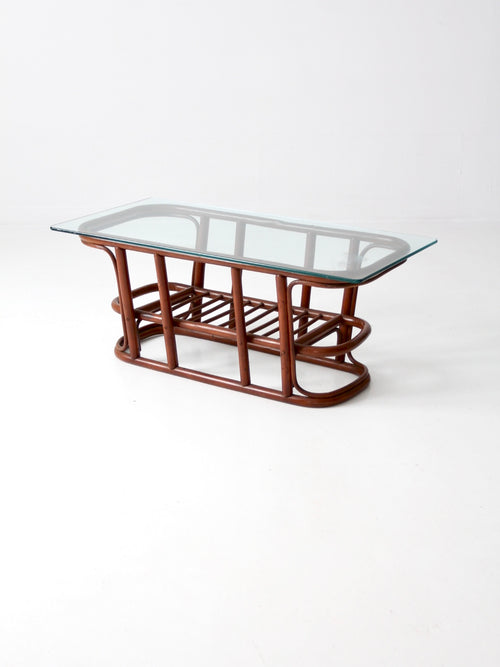 mid-century rattan coffee table
