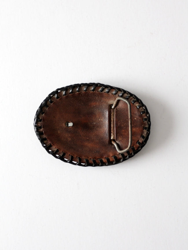 vintage leather buckle back