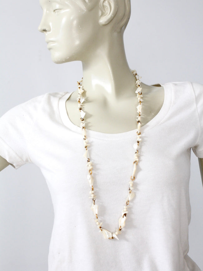 vintage mother of pearl strand necklace