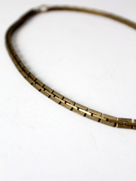 vintage brass chain link necklace