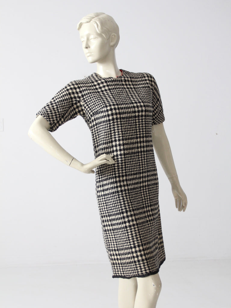 Details about  /Vintage 60/'s 70s Unbranded Women/'s Dress Button Plaid Wool Collared Midi BB6