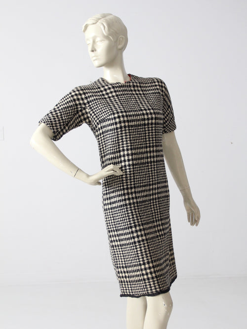 vintage 60s plaid wool dress