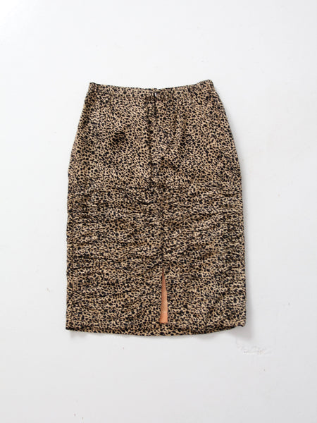 vintage 80s animal print silk skirt