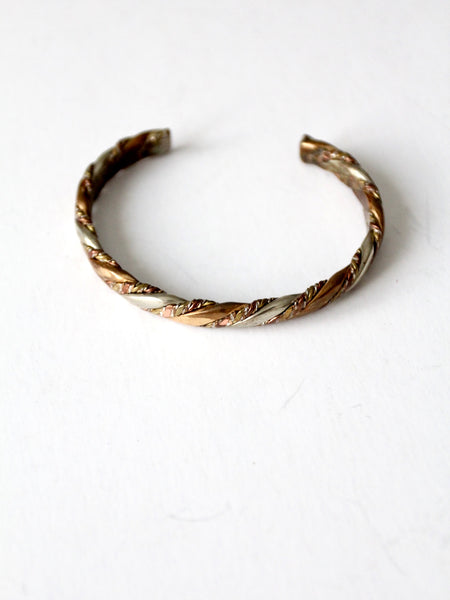 vintage twisted mixed metal cuff