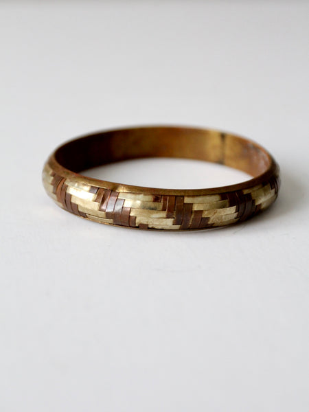 vintage mixed metal basket weave bangle