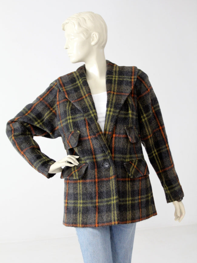 vintage 40s plaid wool coat