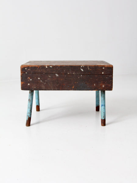 vintage wooden low stool