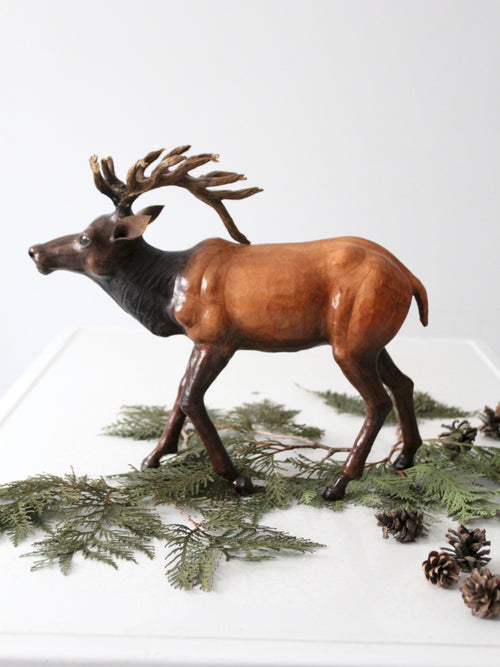 vintage leather reindeer sculpture