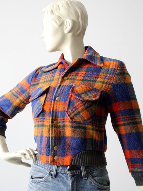 vintage plaid wool bomber jacket