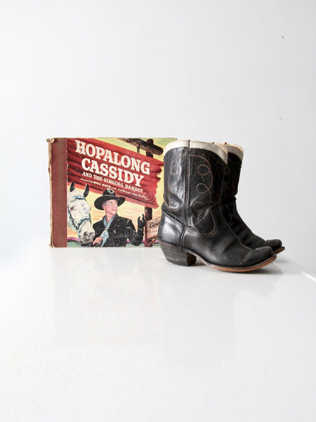 1950s Hoplalong Cassidy boots and record book