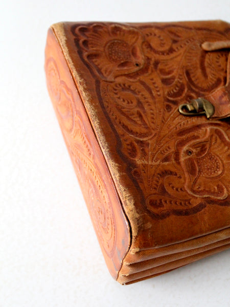 vintage tooled leather satchel