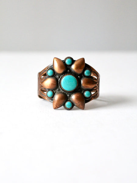 vintage copper and turquoise cuff bracelet