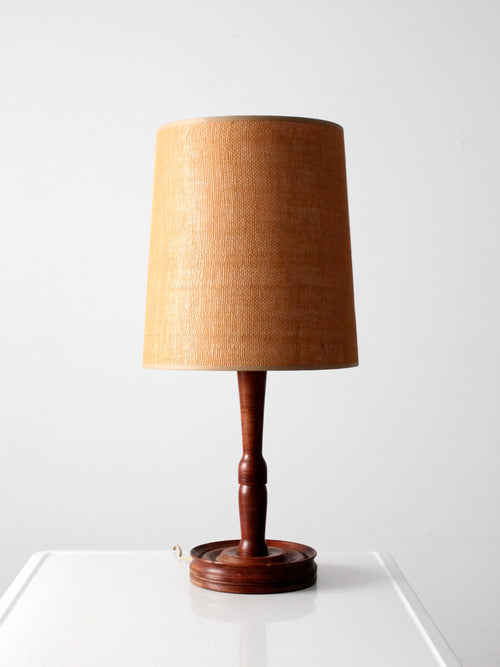 mid-century turned wood table lamp