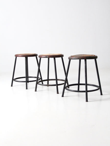 vintage industrial stools - set of 3