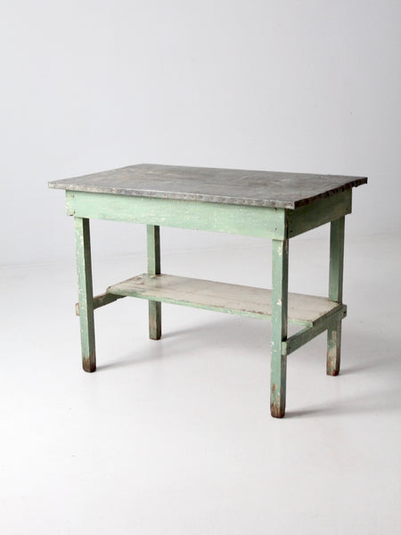 antique table with galvanized top
