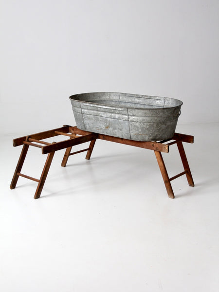antique laundry stand with galvanized tub