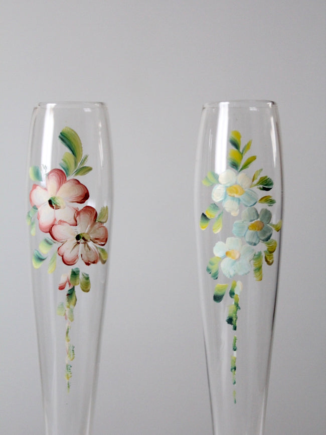 vintage hand-painted champagne flutes pair