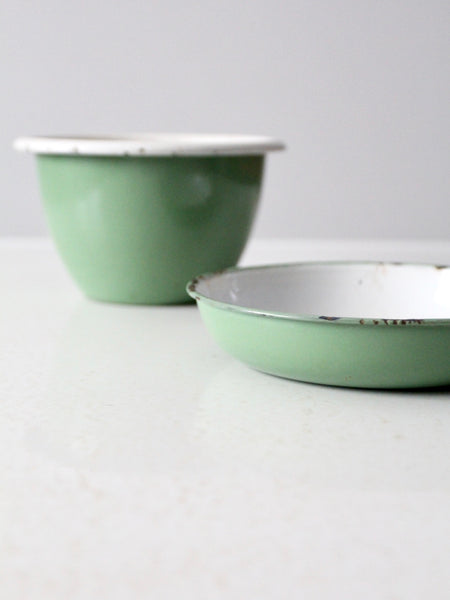 vintage Swedish enamelware bowls set/2