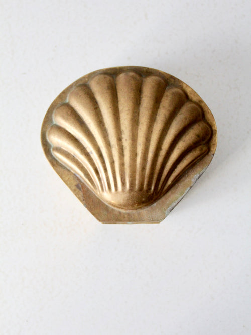 vintage brass seashell box