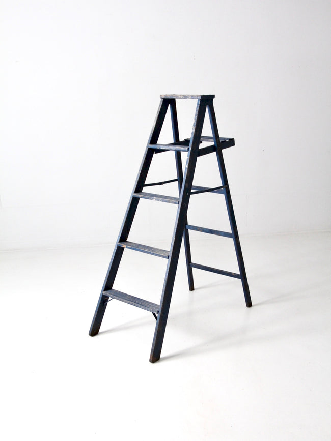 vintage blue wooden ladder