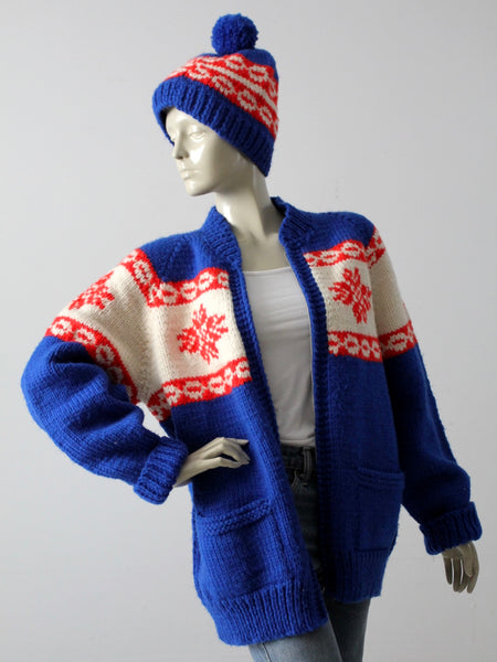 vintage 70s camp sweater and hat