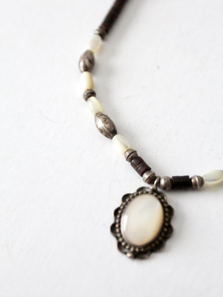 vintage beaded pendant necklace