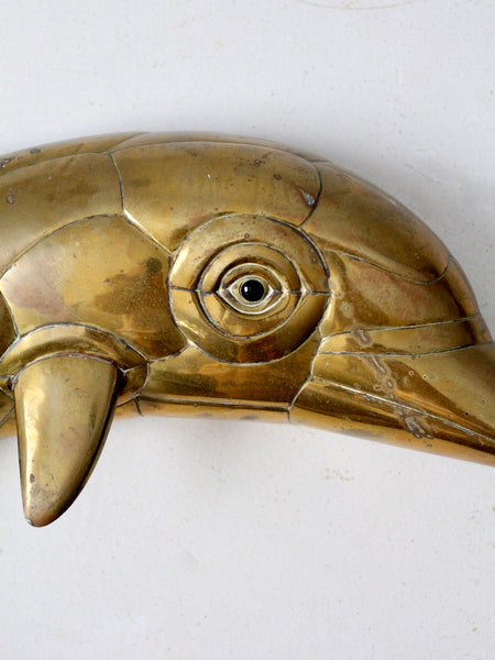 mid-century brass dolphin wall sculpture