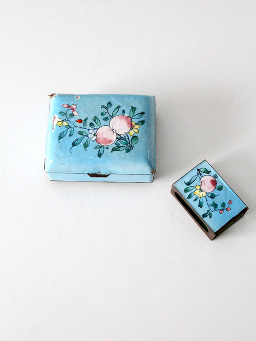antique Chinese cloissone box and matchbox holder