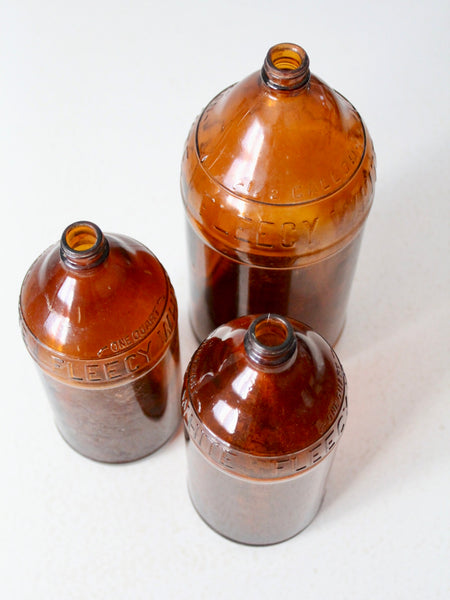 antique brown glass bottles set/3