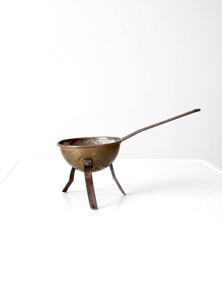 antique footed copper bowl with iron handle