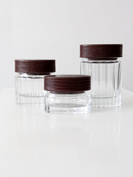 vintage glass jars with leather lids set of 3