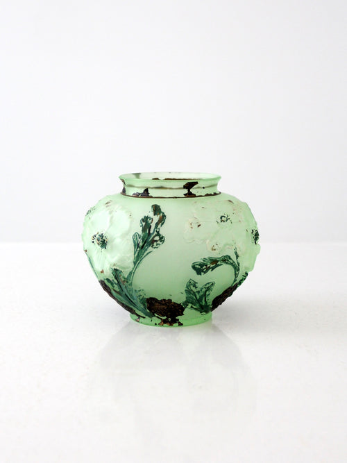 Depression glass hand-painted vase
