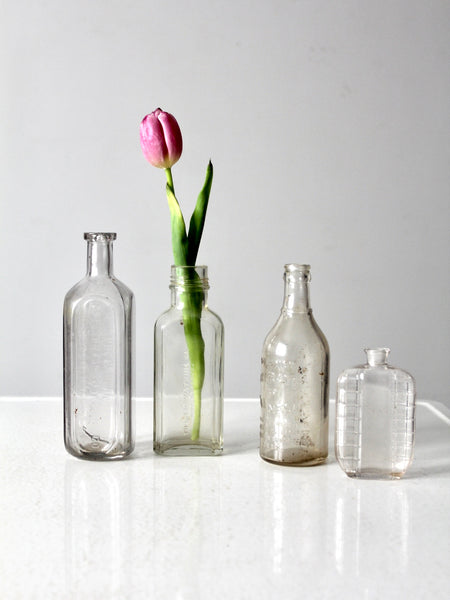antique apothecary bottles, set of 5