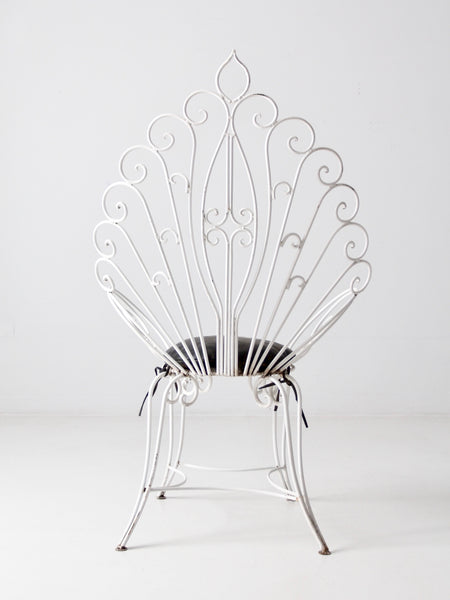 vintage white metal peacock chair