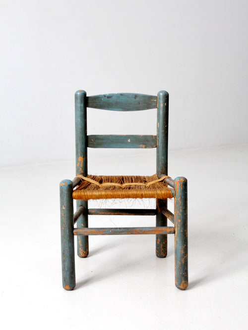antique rush seat children's chair