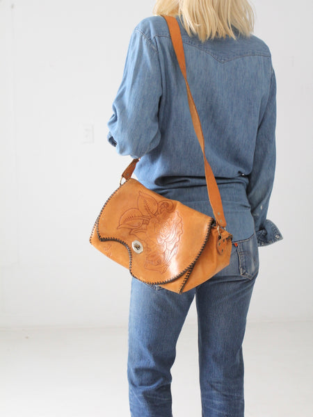 vintage 70s tooled leather satchel