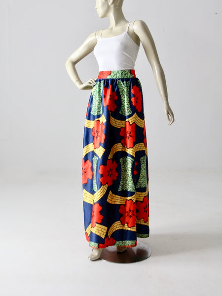vintage 70s bird in flight wrap skirt