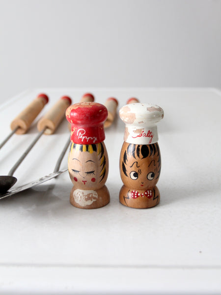 mid-century BBQ grill utensils set