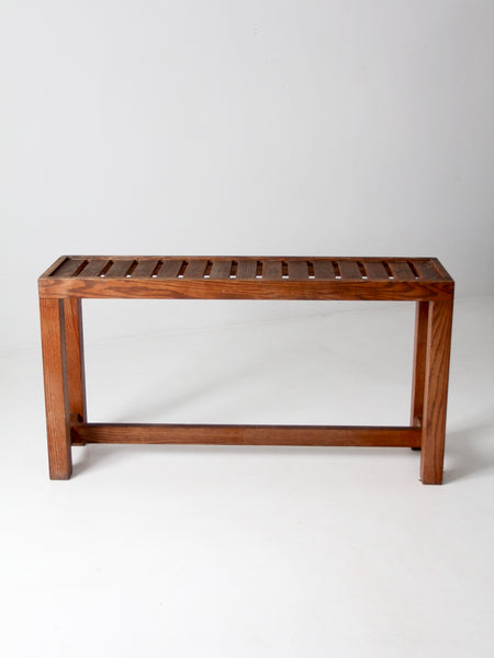 vintage slat wood console table