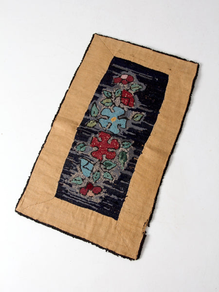 antique hooked floral accent rug