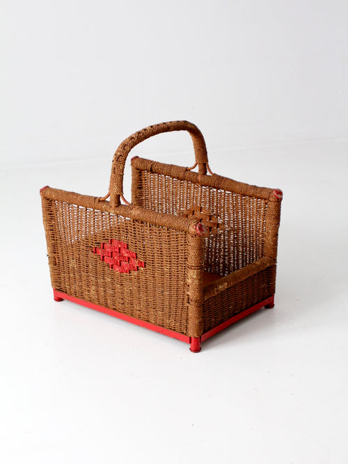 antique folk art storage basket