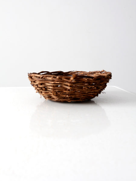 vintage twig basket bowl