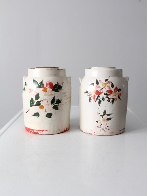 vintage stoneware cookie jars pair