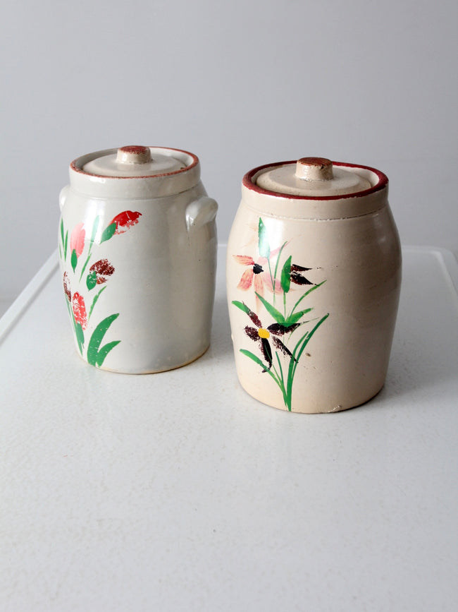 antique stoneware cookie jars pair