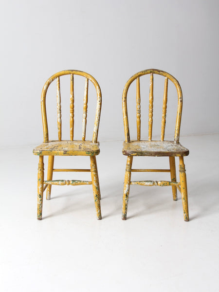antique painted bentwood chairs pair