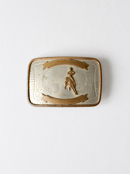 vintage brutalist brass belt buckle