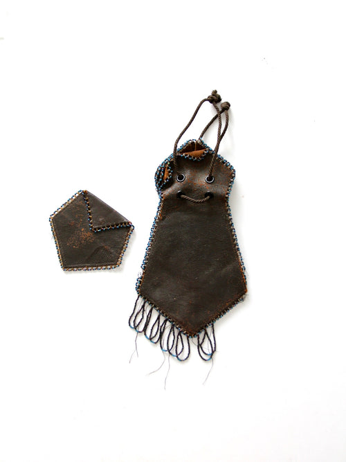 antique beaded leather pouch