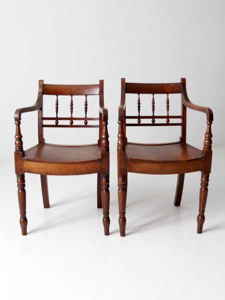 antique rush seat chair pair