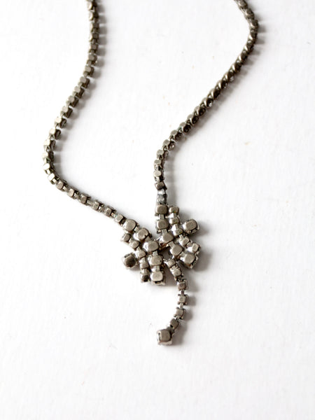 vintage rhinestone drop necklace