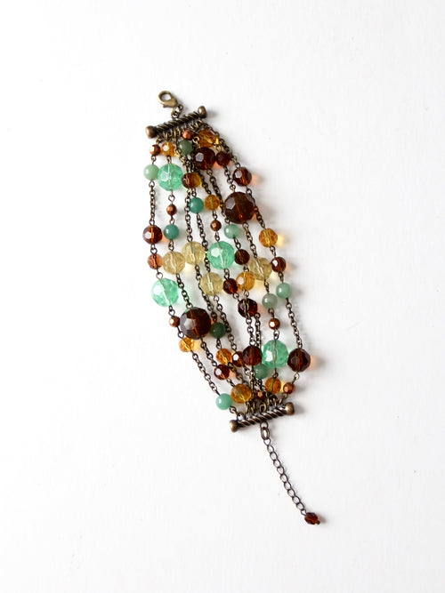 vintage faceted bead multi-chain bracelet
